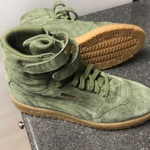 Puma Shoes   Green Suede Hightops